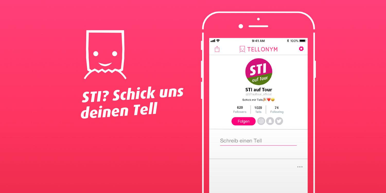 Illustration: Handy und Symbol der Messenger-App Tellonym. Text: STI? Schick uns deinen Tell!